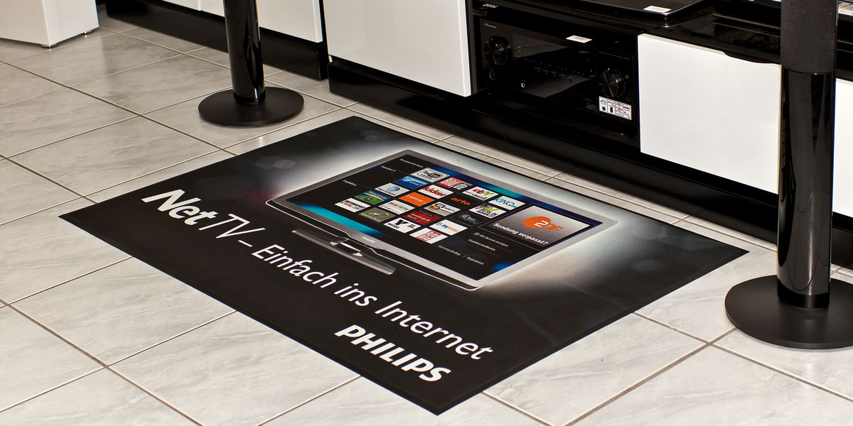 Ad-Mat Floormat - custom printed mat promoting Philips NetTV system