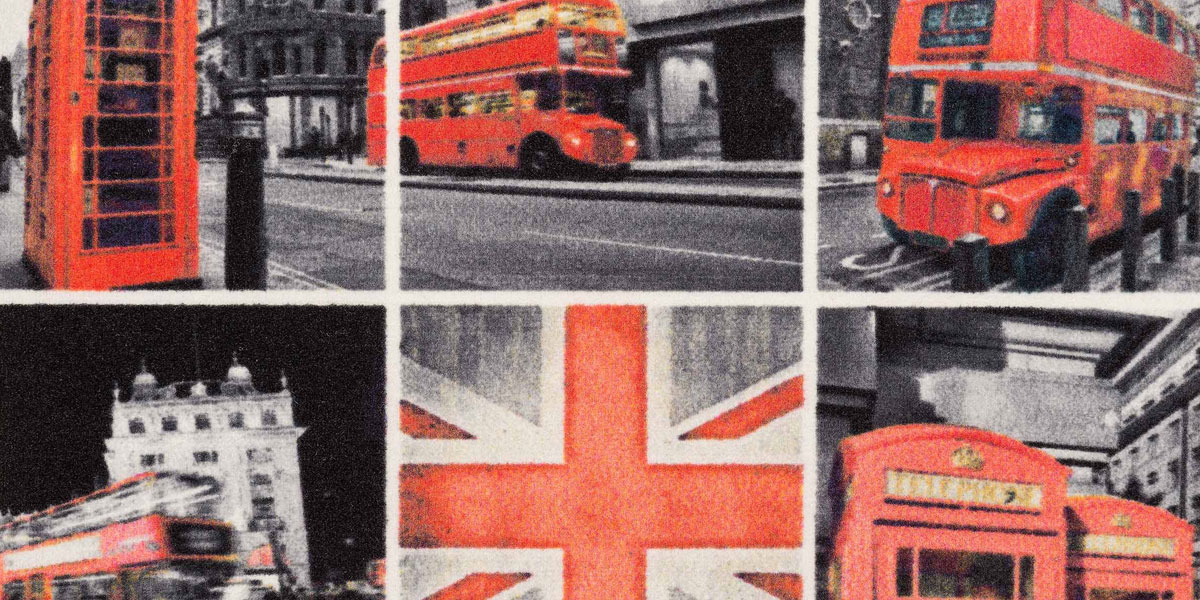 Event-Mat - promotion mat with printed city tableau of London (B&W collage)