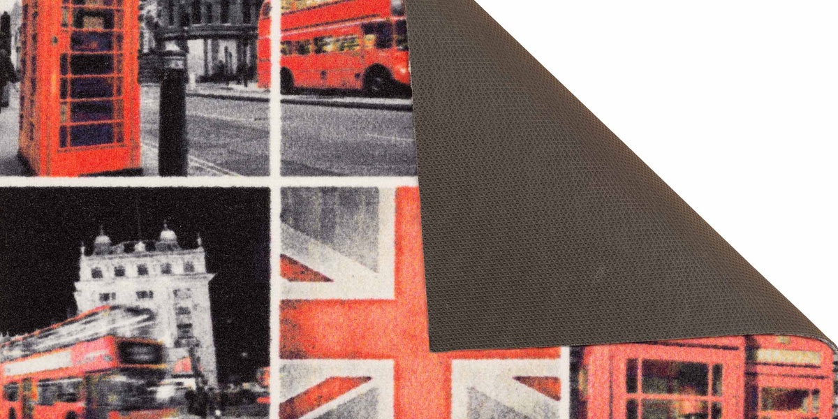 Event-Mat presenting city tableau of London (B&W collage). Folded corner.