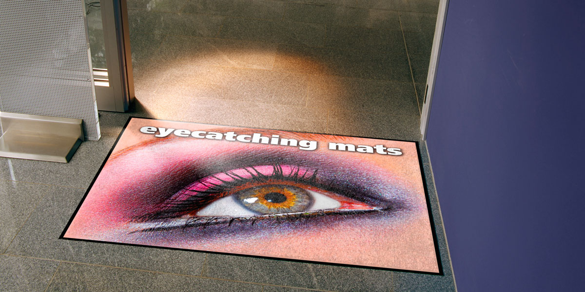 Jet-Print Velour - custom mat with printed woman's eyeshadow eye