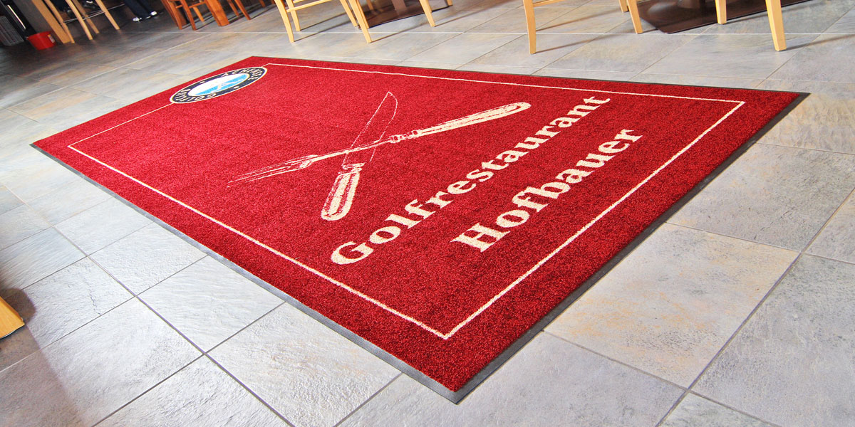 Jet-Print - custom mat promoting restaurant of Achensee Golf & Country Club in Tyrol, Austria