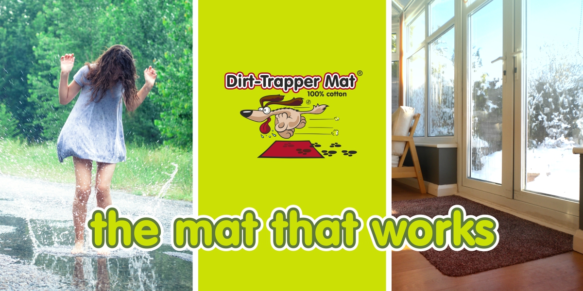 Dirt-Trapper Mats with girl splashing in puddle and snow outside window