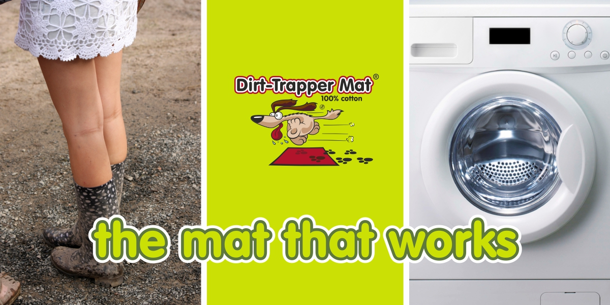 Dirt-Trapper Mats with girl in muddy wellies and washing machine